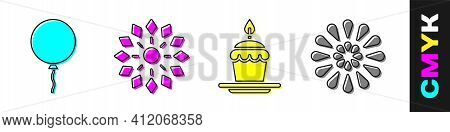 Set Balloon With Ribbon, Firework, Cake With Burning Candles And Firework Icon. Vector