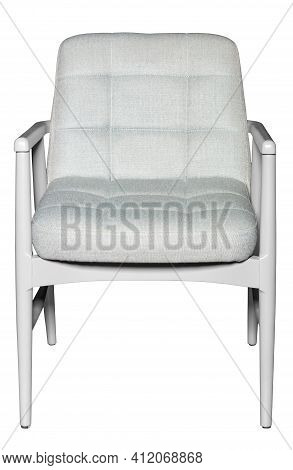White Comfortable Wooden Armchair With Soft Light Fabric Seat Upholstery And Supportive Backrest Wit
