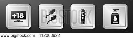 Set Monitor With 18 Plus Content, Sperm, Dildo Vibrator And Personal Lubricant Icon. Silver Square B