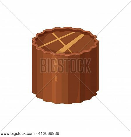 3d Choco Sweet Chocolate Candy Isolated Snack. Vector Treat With Praline And Ganache, Sugary Confect