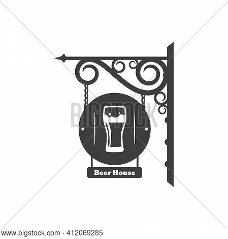 Beer House Retro Street Billboard On Wrought Metal Brackets And Iron Chains. Vector Pub Vintage Sign