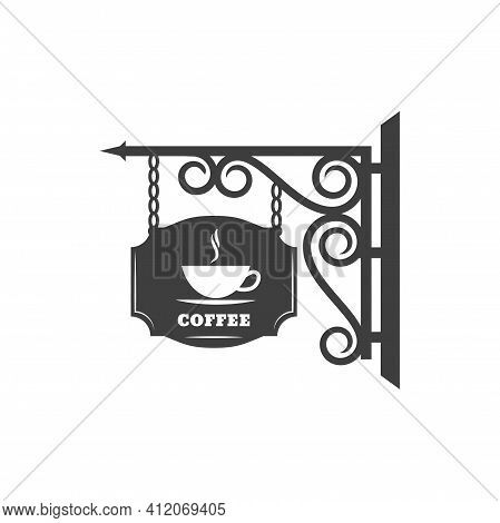 Retro Signboard Of Coffee Shop Or Cafe, Cafeteria Retro Sign With Forged Metal Ornament And Chains.