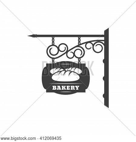 Bakery Shop Vintage Signboard With Metal Chain And Forged Ornaments Isolated Hanging Bread Store Sig