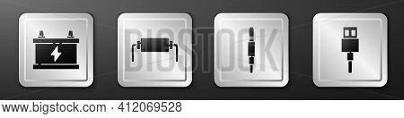 Set Car Battery, Resistor Electricity, Audio Jack And Usb Cable Cord Icon. Silver Square Button. Vec