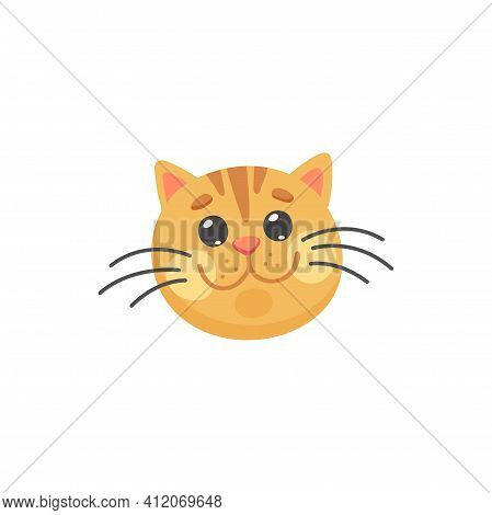 Happy Ginger Cat With Long Whiskers Isolated Happy Emoticon. Vector Red Cat Snout, Feline Purebred,