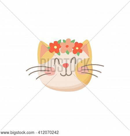 Cute Female Cat With Flowers In Head Isolated Kitten Snout. Vector Springtime Kitty, Avatar Of Domes