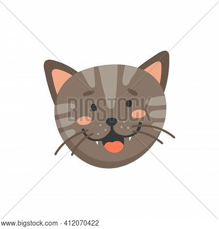 Laughing Kitten Head Isolated Cat Emoji Muzzle. Vector Feline Emotion, Adorable Home Pet Facial Expr