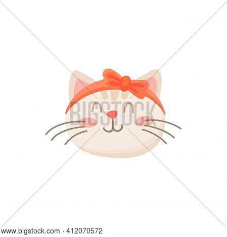 Kitten Girl With Bow On Head Isolated Pleased Cat. Vector Happy Emoticon, Cat In Good Mood, Kitten S