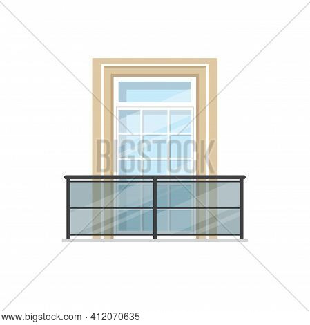 Balcony With Glass Balustrade And Metal Handrails Isolated Building Facade Exterior Element. Vector