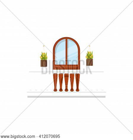 Balcony With Arch Doorway, Flower Cachepots And Marble Balustrades And Railings Isolated Icon. Vecto