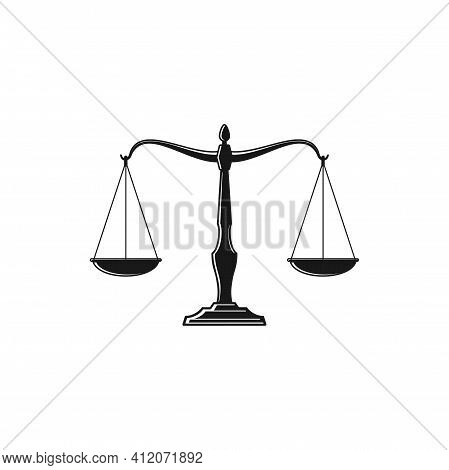 Scales Isolated Monochrome Icon. Vector Dual Balance Themis Scales Of Justice On Decorative Stand. M