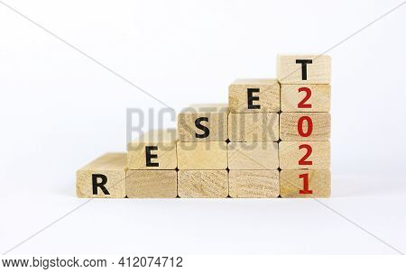 Business Concept Of 2021 New Year Reset. Wooden Blocks With Words 'reset 2021'. Beautiful White Back