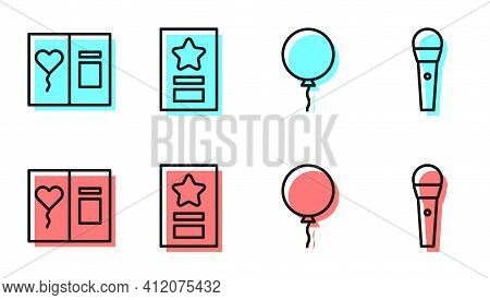 Set Line Balloon With Ribbon, Greeting Card, Greeting Card And Karaoke Microphone Icon. Vector