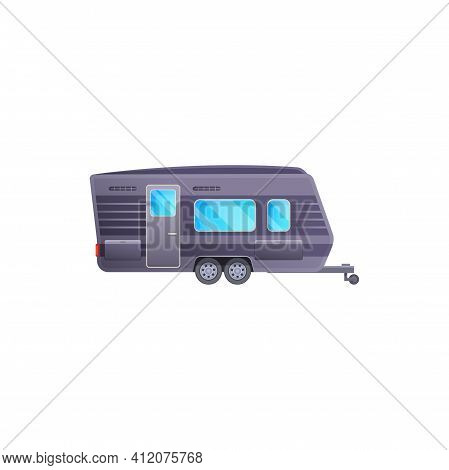Trailer Or Travel Camper And Rv Caravan Truck Van, Vector Icon. Camper Trailer And Vacations Pickup