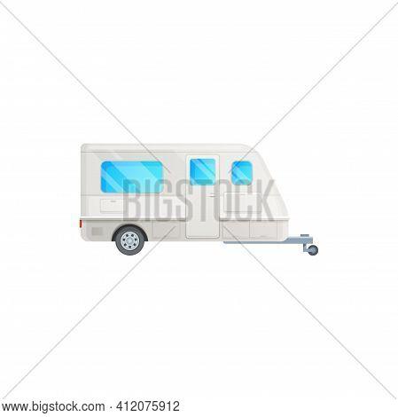 Camper Trailer Or Travel Van And Caravan Car Rv Truck, Vector Motorhome Icon. Travel Trailer Van For