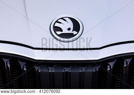 Prague, Czech Republic - February 25, 2021: Logo Of Skoda Vehicle In Prague, Czech Republic, Februar