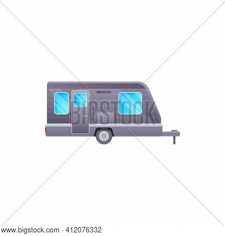 Camper Trailer, Travel Caravan Van Or Camping Vehicle, Vector Road Journey Motorhome Vehicle. Campin