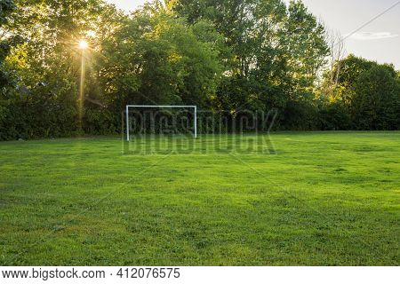 Soccer Field In The Evening In The Schoolyard