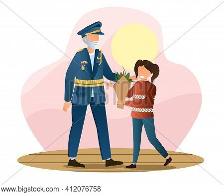 Little Girl Is Giving Flowers To Veteran In Military Uniform. Concept Of Veteran Day. Army Veteran W