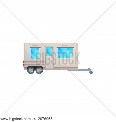 Trailer, Camper And Travel Caravan Van, Rv Truck, Vector Icon. Vacations Motor Home And Travel Trail