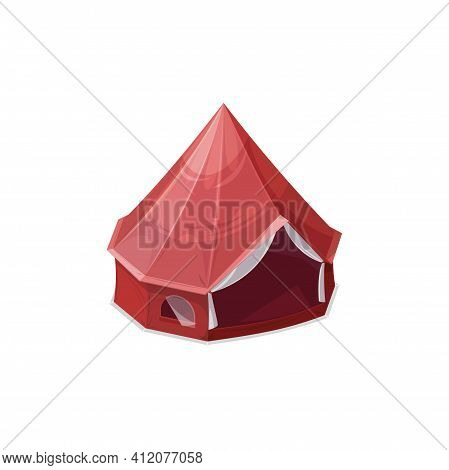 Tent With Dome And Window Isolated Camping And Hiking House Realistic Icon. Vector One Room Campsite