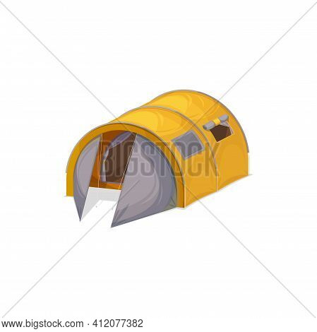 Large Waterproof Two Bedroom Family Tent For Four Person Isolated Realistic Icon. Vector Yellow Cano