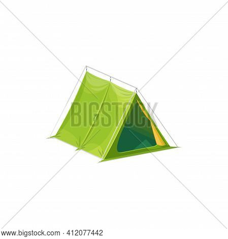 Pyramid Shape Tourists Tent Isolated Camping Equipment Realistic Icon. Vector Hiking Tent, Travel Pi