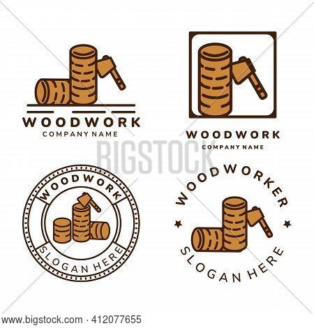 Carpenter And Woodwork Vintage Color Set Logo Icon Vector Illustration Template Design. Ax, Wood, Fl