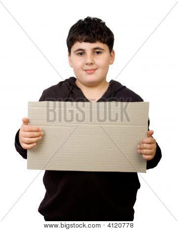 Young Boy Holding Cardboard