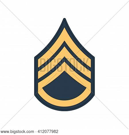 Ssg Staff Sergeant Insignia Of Us Army Isolated Icon. Vector Rank Of Non-commissioned Officer Armed