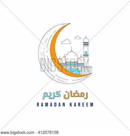 White Mosque On The Moon Vector Illustration. Line Art Design Of Mosque And Moon. Ramadan Kareem Des