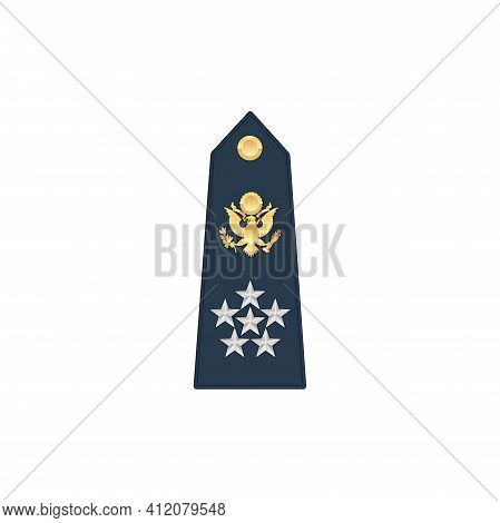 Air Or Naval Forces General Of Army Military Rank With Eagle And Five Stars Isolated Mockup Template