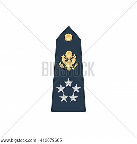 General Navy, Marine Officer Air Forces Rank Stripe With Eagle And Four Forces Isolated Mockup. Vect