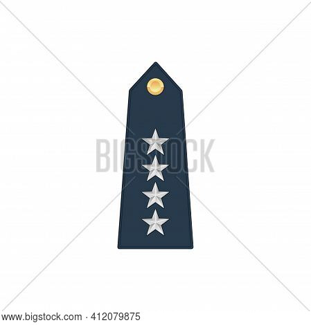 General Lieutenant Military Stripe With Four Stars Isolated Insignia Icon. Vector Enlisted Military