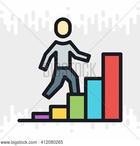 Career Growth Icon. Man Walking Up The Stairs In The Form Of A Growing Chart. Simple Color Version O