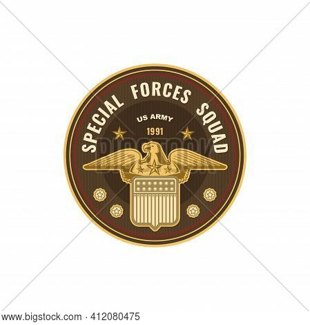 Special Forces Squad Isolated Military Chevron Icon. Vector Us Army Mascot With Golden Eagle. Usa Ta