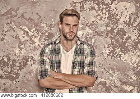 Style Confidence. Confident Guy. Guy Keep Arms Crossed Abstract Background. Handsome Guy In Casual S