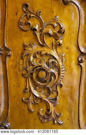 Close-up Of Vintage Wooden Hand-carved Door In Prague, Czech Republic
