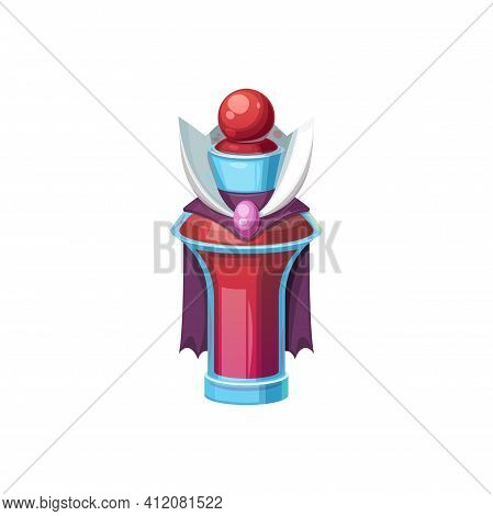 Witchcraft Elixir In Bottle With Purple Cloak Isolated. Vector Magic Sorcery Mixture, Halloween Symb