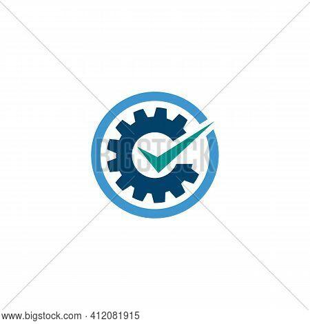 Gear Cog Wheel Check Mark Logo Vector Image. Checkmark Inside Gear Or Cog Symbol Logo Design Templat