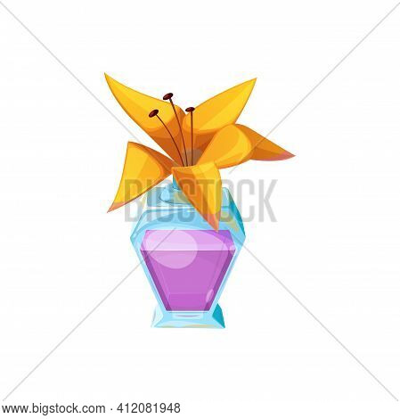 Bottle With Elixir And Cork Cap Lily Flower Isolated Icon. Vector Alchemy Potion, Toxic Substance Wi
