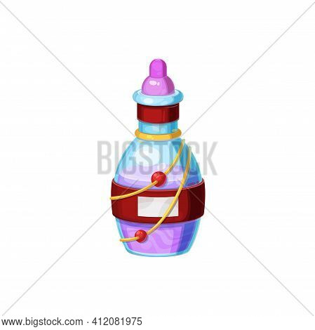 Halloween Witch Potion Liquid In Glass Jar Isolated Cartoon Design Element For Gui Rpg Games. Vector