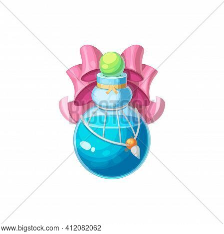 Elixir Of Love In Round Bottle Isolated Potion Decorated By Pink Glossy Bow. Vector Valentines Day A
