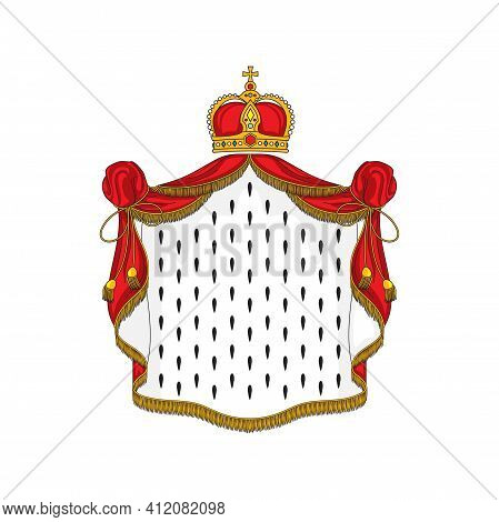 King Or Queen Red Cloak With Golden Fringe, Tassels And Headwear Isolated Icon. Vector Cartoon Symbo