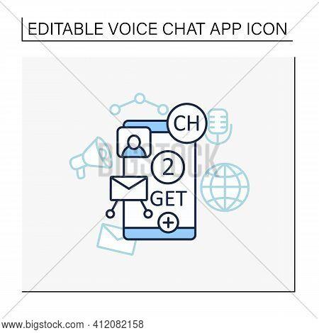 Drop-in-audio Chat Invite Line Icon. Communication Application With Friends.invitation Link. Invite
