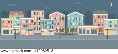 City Life Illustration With House Facades, Road And Other Urban Details. Night Panoramic View. Flat