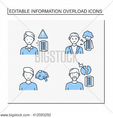 Information Overload Line Icons Set. Consists Of Continuous Partial Attention, Information Explosion