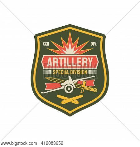Artillery Division Military Chevron With Heavy Machinery, Sword And Crossed Rocket Bombs. Vector Ame