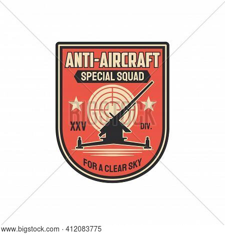 Anti Aircraft Artillery Special Squad For Clear Sky Isolated Military Chevron. Vector Infantry Troop