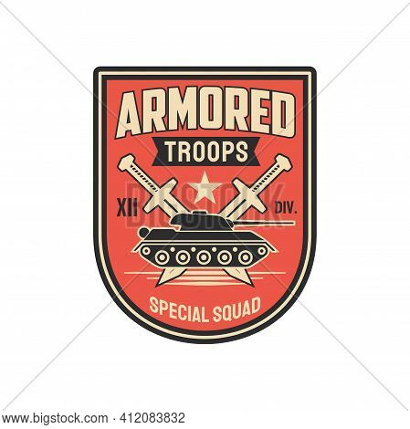 Armored Division Special Squid With Tank And Crossed Swords Isolated Military Chevron With. Vector A